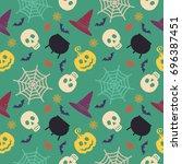 halloween seamless pattern.... | Shutterstock .eps vector #696387451