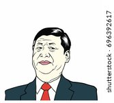 xi jinping  president of people'... | Shutterstock .eps vector #696392617