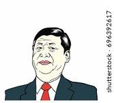 xi jinping  president of people'... | Shutterstock .eps vector #696392617