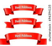 ribbons set. realistic red... | Shutterstock .eps vector #696394135