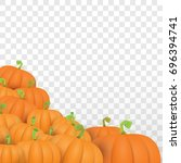 autumn vector orange pumpkins... | Shutterstock .eps vector #696394741