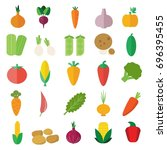 set of fruits and vegetables. | Shutterstock .eps vector #696395455