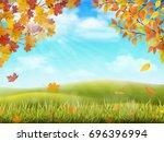 Rural Hilly Landscape In Autumn ...