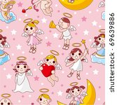 seamless angel pattern   Shutterstock .eps vector #69639886