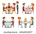 people in restaurant eating...   Shutterstock . vector #696401857