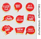 promo sale stickers and tags... | Shutterstock .eps vector #696407581