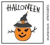 halloween background with... | Shutterstock .eps vector #696416851