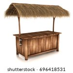 a wooden counter kiosk with... | Shutterstock . vector #696418531