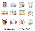 coffee maker or kettle  french... | Shutterstock .eps vector #696418861
