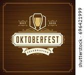 oktoberfest beer festival... | Shutterstock .eps vector #696421999
