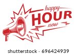 happy hour sign with megaphone | Shutterstock .eps vector #696424939