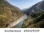 view of yamuna river valley and ... | Shutterstock . vector #696429259
