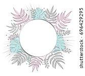 creative summer round template... | Shutterstock .eps vector #696429295