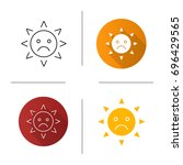 sad sun smile icon. flat design ... | Shutterstock .eps vector #696429565
