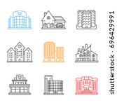 city buildings linear icons set.... | Shutterstock .eps vector #696429991