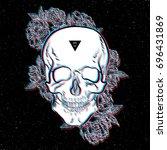 fashion print  skull. image. | Shutterstock . vector #696431869