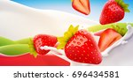 realistic milk with strawberry... | Shutterstock . vector #696434581