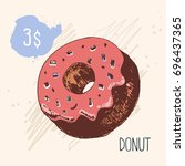 donut with a glaze and caramel. ... | Shutterstock .eps vector #696437365