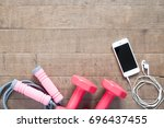 sport and fitness equipments... | Shutterstock . vector #696437455