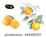 orange citrus fruit isolated on ... | Shutterstock . vector #696440707