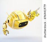 orange aerial cutan robotic toy ... | Shutterstock . vector #696441979