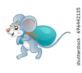Mouse Carries A Bag Of Food....