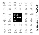 line icons set. stationery pack.... | Shutterstock .eps vector #696443491