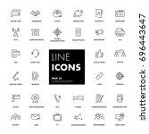 line icons set. communication... | Shutterstock .eps vector #696443647