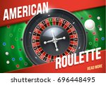 casino roulette wheel with... | Shutterstock .eps vector #696448495
