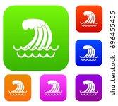tsunami wave set icon in...   Shutterstock .eps vector #696455455