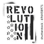 ''revolution'' inscription and... | Shutterstock .eps vector #696458971