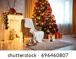 christmas and new year... | Shutterstock . vector #696460807