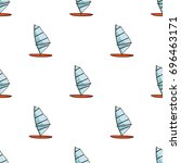 windsurf board icon in cartoon... | Shutterstock . vector #696463171