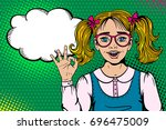 wow face. cute surprised blonde ... | Shutterstock .eps vector #696475009