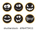 set of round halloween tags and ... | Shutterstock .eps vector #696475411