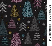 seamless christmas pattern | Shutterstock .eps vector #696480391