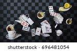 wonderland background. mad tea... | Shutterstock . vector #696481054