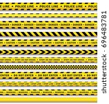 vector yellow black police tape ... | Shutterstock .eps vector #696483781