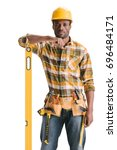 Small photo of pensive african-american construction worker with leveling tool isolated on white