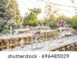 wedding. banquet. chairs and... | Shutterstock . vector #696485029