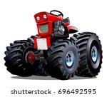vector cartoon tractor.... | Shutterstock .eps vector #696492595