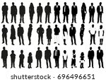 isolated set of silhouettes of... | Shutterstock .eps vector #696496651
