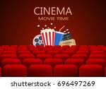 movie theater with row of red... | Shutterstock .eps vector #696497269