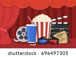 retro movie set. black... | Shutterstock .eps vector #696497305