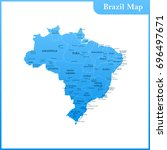 the detailed map of the brazil... | Shutterstock . vector #696497671