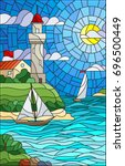 illustration in stained glass... | Shutterstock .eps vector #696500449