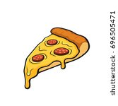 vector illustration. pizza... | Shutterstock .eps vector #696505471