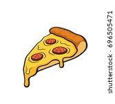 vector illustration. pizza... | Shutterstock .eps vector #696505471