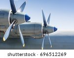 Small photo of Screws of military huge aircraft. Airforce background.