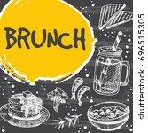 brunch card design. hand drawn...   Shutterstock .eps vector #696515305